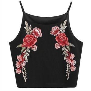 • NWOT | Black Rose Embroidered Crop Top